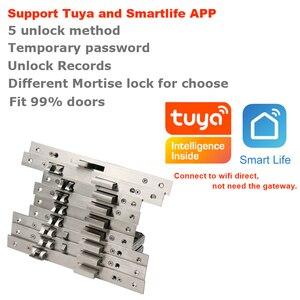 Image 2 - RAYKUBE Wifi elektroniczny zamek do drzwi z aplikacją Tuya zdalnie/biometryczny odcisk palca/karta inteligentna/hasło/klucz odblokuj FG5 Plus