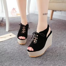 2020 New Fashion Summer Lace-Up Women's Sandals Velvet Flock Fish Mouth Fashion