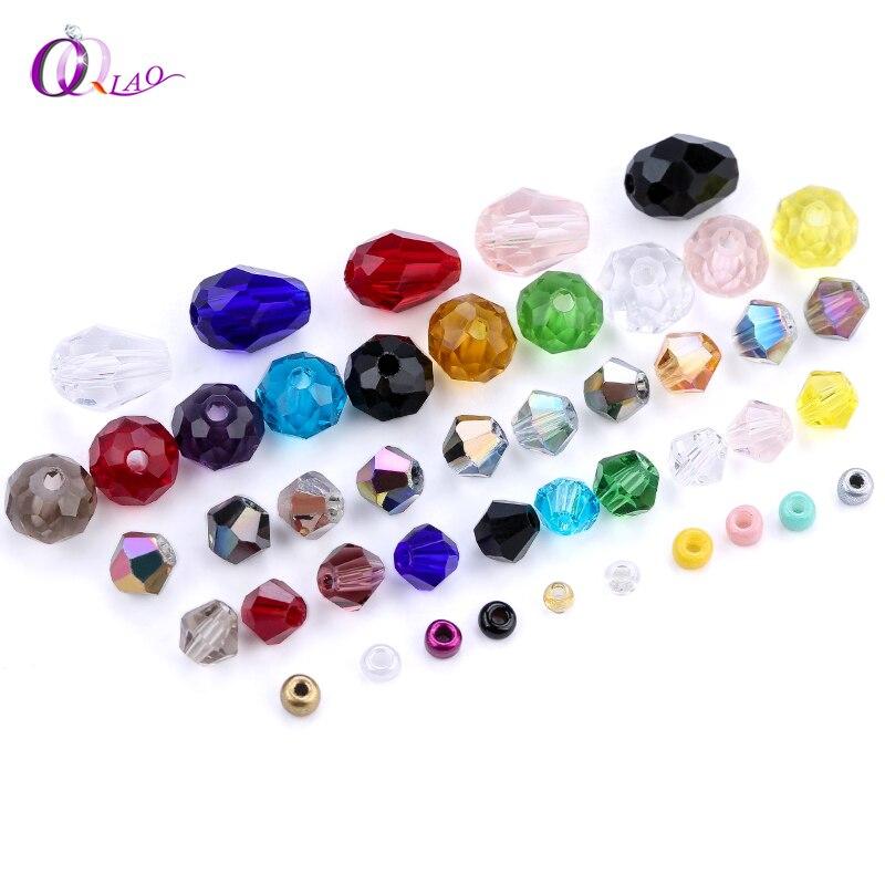 Смешанные стеклянные бусины из хрусталя, шармы, свободные биконовые шарики для изготовления ювелирных изделий, браслетов, ожерелий, оптовые поставки|Бусины|   | АлиЭкспресс