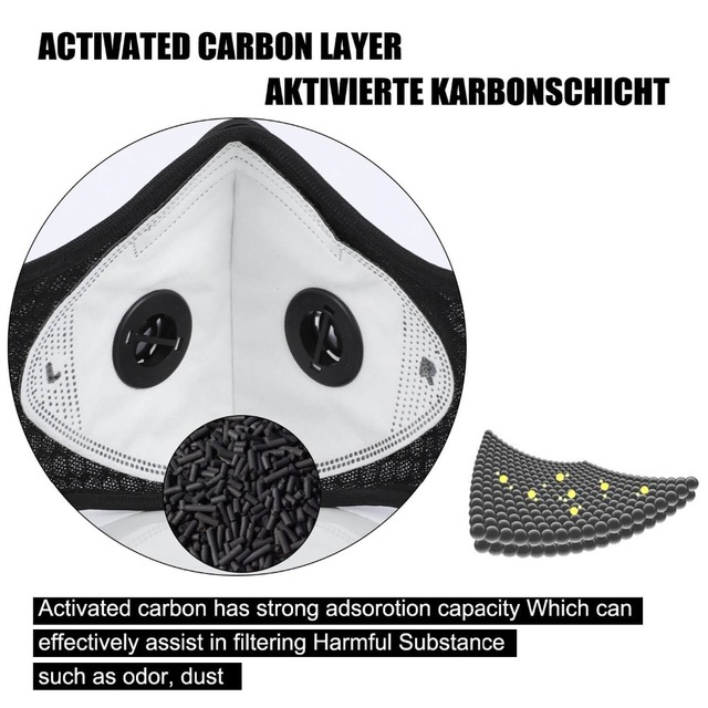 WEST BIKING Sports Cycling Face Mask PM2.5 Anti-pollution Activated Carbon Half Face Shield Washable Mask With Filter Men 2