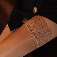 Nova 8d mulher óleo brilhante sexy rendas meias topo nu/preto feminino elástico coxa meias altas antiderrapante silicone meias