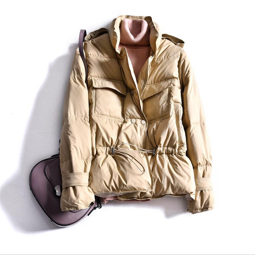 Winter Stand Collar Double Breasted Duck Down Coats Female Tooling Style Was Thin Real Down Jackets Warm Coat F986
