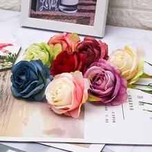 50/100pcs 6.5cm Artificial Sike Princess Rose Flower Heads For Home Wedding Decoration DIY Scrapbook Craft Supplies Fake Flowers