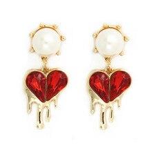 Bohemian Kolczyki Earrings For Women Aretes De Mujer 2019 Pendientes Pearl Heart Earring Red Brincos Vintage Long