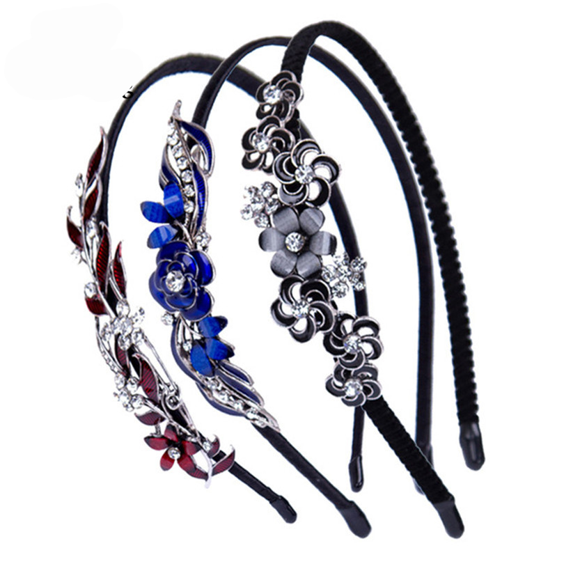 Haimeikang 2019 Colorful Rhinestone Flower Leaf Hair Hoop Headband Hairband For Women Girls Bezel Hair Band Hair Accessories