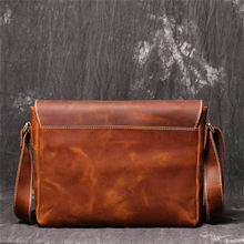 Nesitu High Quality Vintage Brown 100% Thick Durable Real Skin Genuine Crazy Horse Leather Cross Body Shoulder Small Men Messenger Bags for ipad M1052(China)