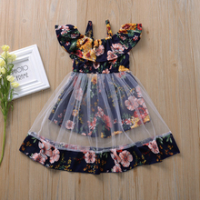 От 1 до 4 лет Одежда для маленьких девочек; Летнее платье принцессы с цветочным рисунком; Детская одежда на день рождения вечерние костюм оде...