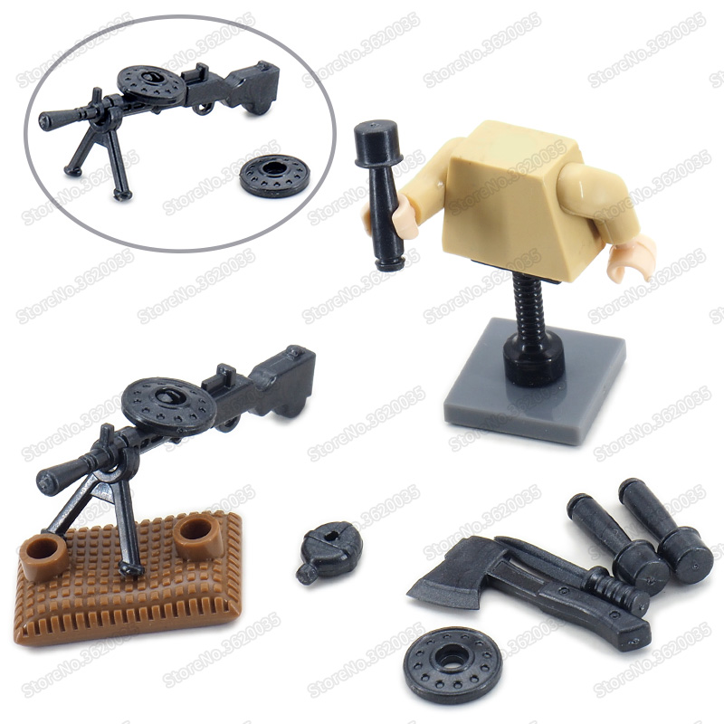 Legoinglys WW2 Figures Military DP-28 Light Machine Gun Weapons Diy Building Block Assembly Army Soldier Boy Christmas Gift Toys
