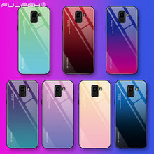 Colorful Gradient Tempered Glass Case For Samsung Galaxy S10 S8 S9 Plus A30 A50 M20 M10 A5 2017 A6 A8 J4 J6 Plus A9 J8 A7 2018(China)