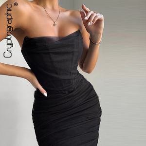 Cryptographic Elegant Corset Bustier Bone Ruched Mesh Midi Dresses Party Night Club Sexy Backless Strapless Summer Dress Bodycon