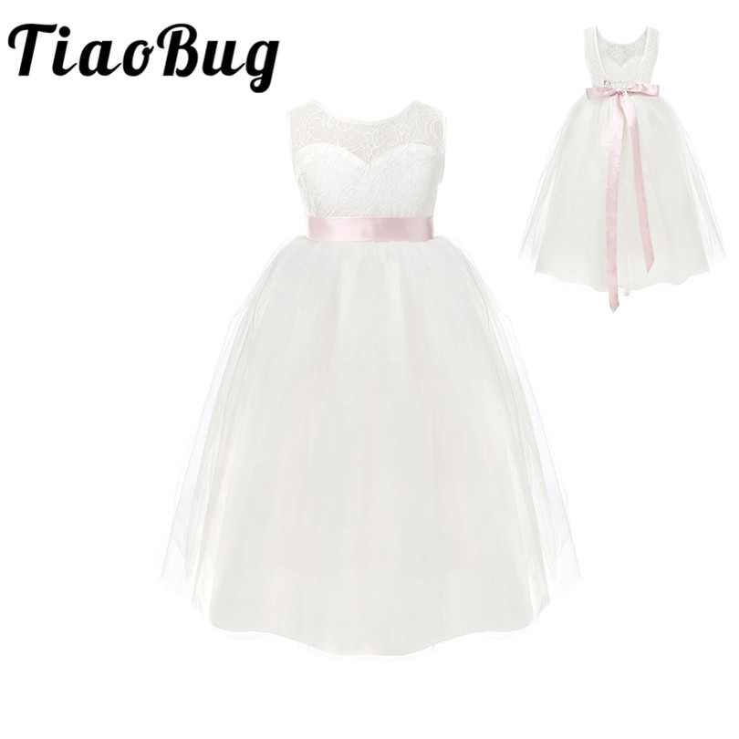 TiaoBug White/ Ivory Girl Lace Long Dress With Sweet Flower For Age 2 12 Baby Kids Princess Dress for Wedding Prom Partygirls ivory lace dresslong white girls dresssweet flower girl dress -