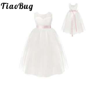 Image 1 - TiaoBug White/ Ivory Girl Lace Long Dress With Sweet Flower For Age 2 12 Baby Kids Princess Dress for Wedding Prom Party