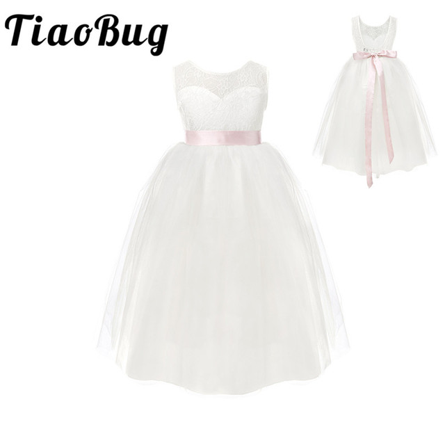 TiaoBug White/ Ivory Girl Lace Long Dress With Sweet Flower For Age 2 12 Baby Kids Princess Dress for Wedding Prom Party