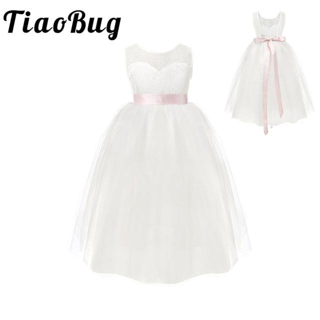 TiaoBug beyaz/fildişi kız dantel uzun elbise tatlı çiçek yaş 2 12 bebek çocuklar için prenses elbise düğün balo parti