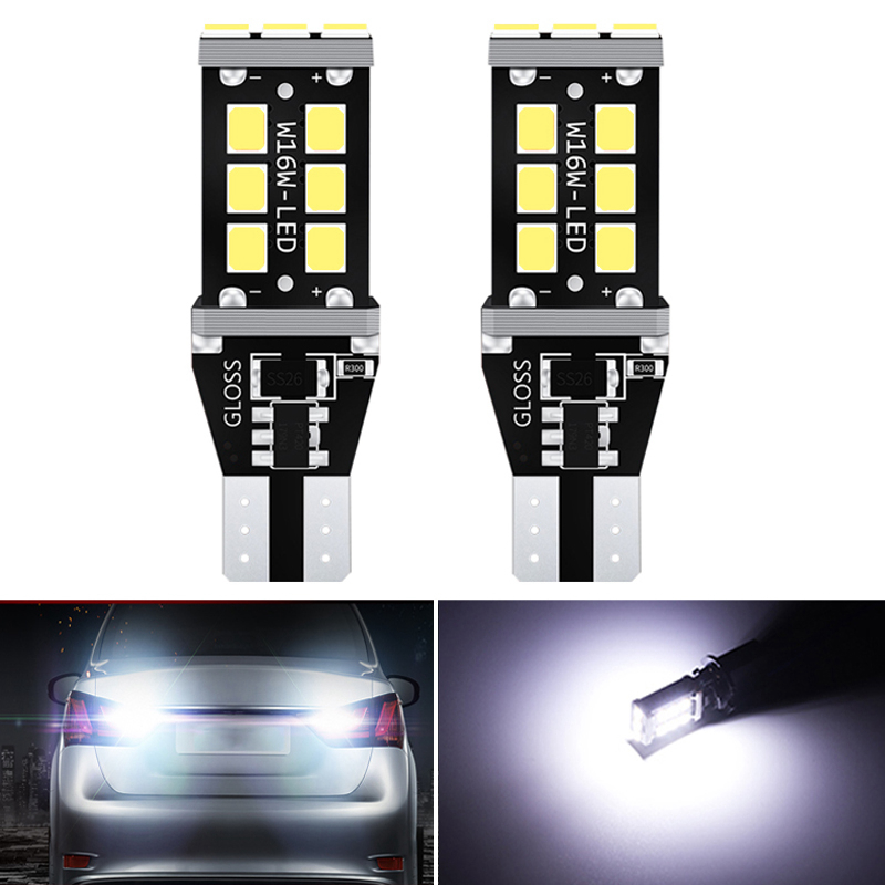 2x Canbus T16 T15 W16W LED Bulbs 2835 SMD Car Back Up Rear Lamp For BMW 5 Series E60 E61 F10 F11 F07 Mini Cooper Reverse Lights