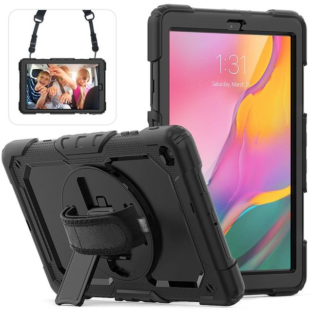 Caso para voor Samsung Galaxy Tab 10,1 2019 SM T510 SM T515 T510 híbrido armadura protectora caso con giratoria 360 soporte y