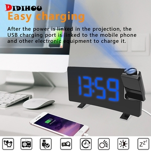 Projection Alarm Clock Digital Ceiling Display 180 Degree Projector Dimmer Radio Battery Backup For Home Office Bedroom(China)