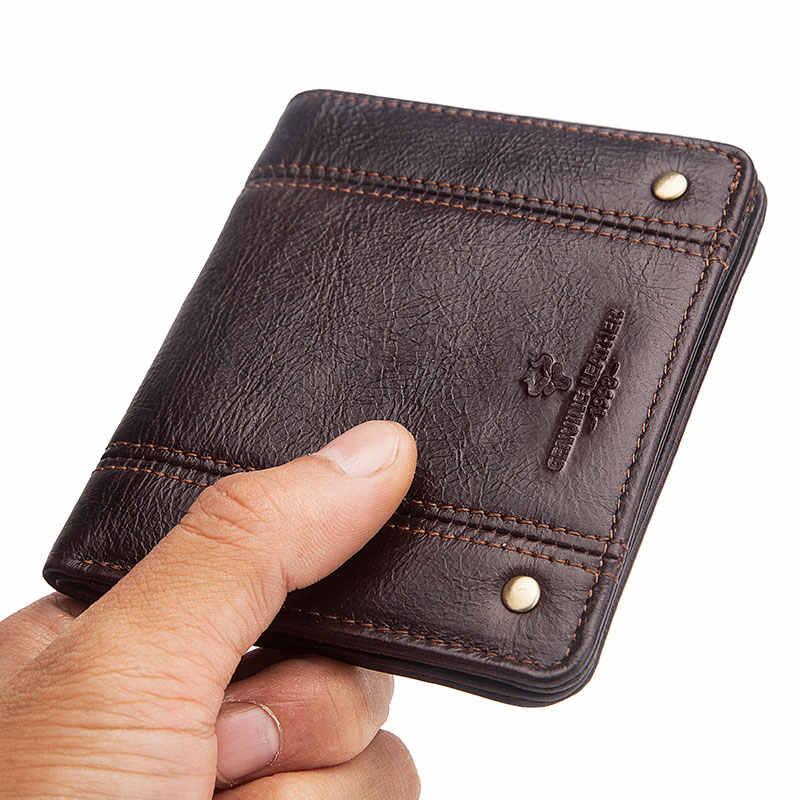 GZCZ الرجال جلد طبيعي رقيقة محافظ تتفاعل الذكور ضئيلة محفظة حامل بطاقة جلدية البقر قصيرة صغيرة غلق بمشبك محفظة للرجل 2020 رائجة البيع