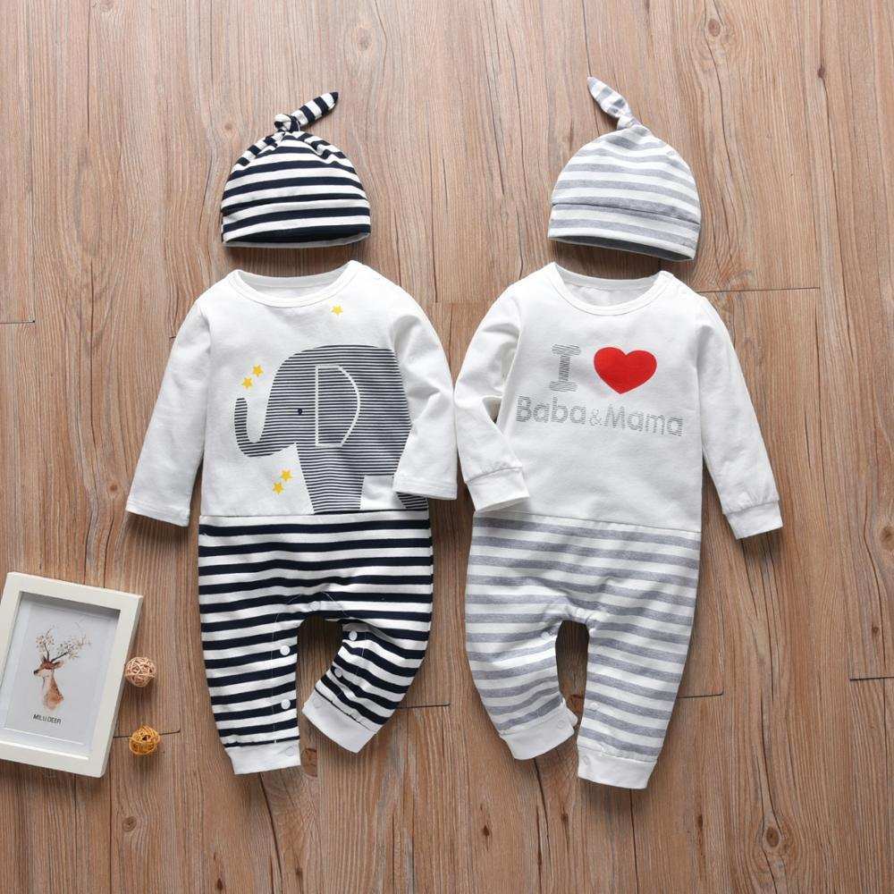 Romper Outfits Jumpsuit Letter Toddler Clothes Long-Sleeve Newborn Infant I-Love-Baba