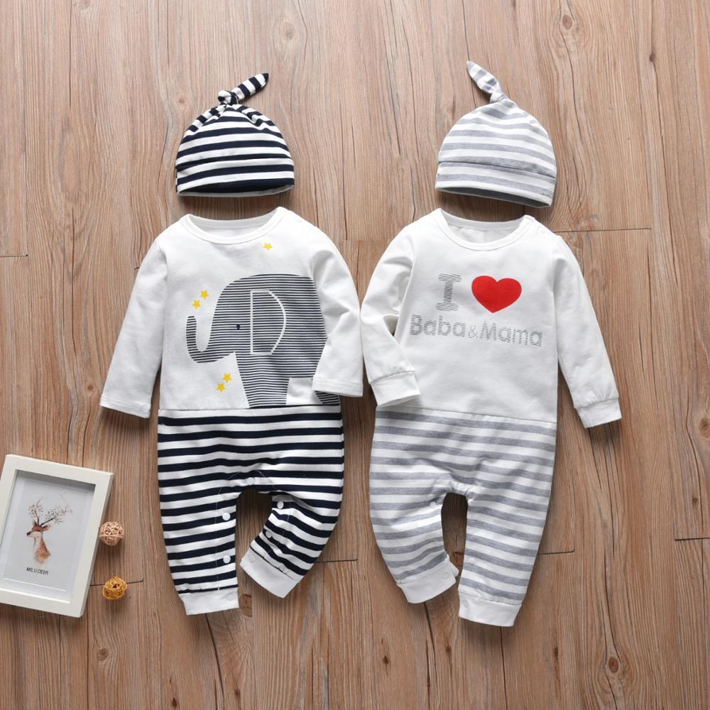 Bebê recém-nascido meninos macacão algodão carta eu amo baba & mama manga longa macacão e chapéu outono roupas da criança