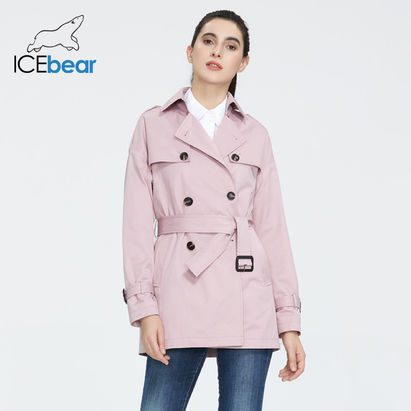 ICEbear 2020 Women's Spring Windbreaker Stylish Casual Female Lapel Trench Coat Quality Brand Women Clothing GWF20027D