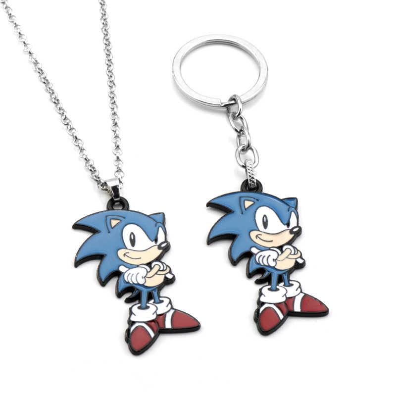 Hot Spiel Sonic The Hedgehog Emaille Schlüsselring Nette Anime Abbildung Metall Schlüsselanhänger Tasche Auto Schlüssel Ketten Schmuckstück Charme Halskette Geschenke