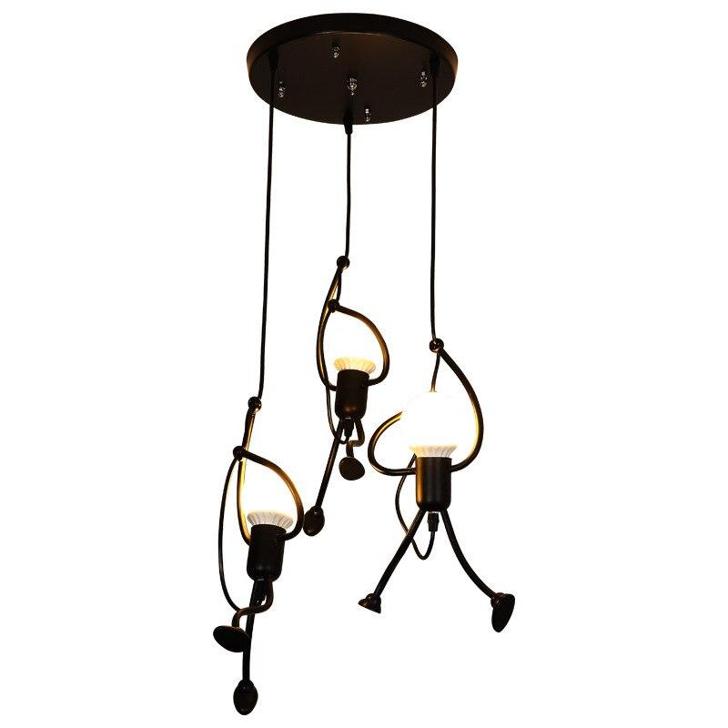 Loft moderne suspendu escalade homme pendentif lumières cordon de fer décor à la maison éclairage suspension lampe salon lampes Luminaires nordiques