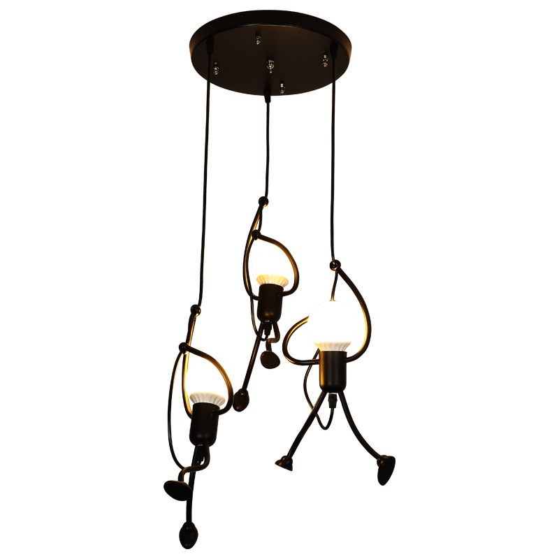 Modern Loft Hanging Climbing Man Pendant Lights Iron Cord Home Decor Lighting Pendant Lamp Living Room Lamps Nordic Luminaires