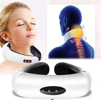 Electric pulse neck and back massager far-infrared heating analgesic tool for health care and relaxation