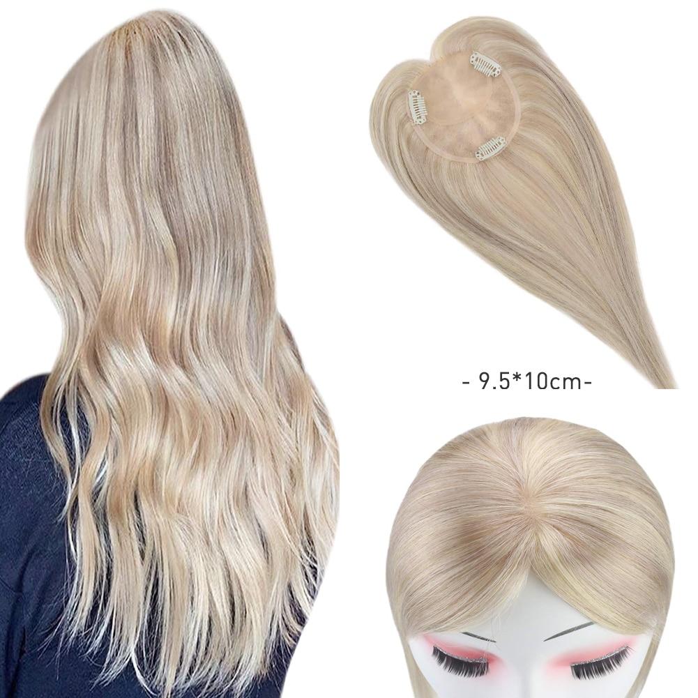 Estensioni dei capelli lisci Moresoo Topper capelli umani brasiliani reali evidenzia colore biondo cenere e candeggina Clip bionda in Toppers