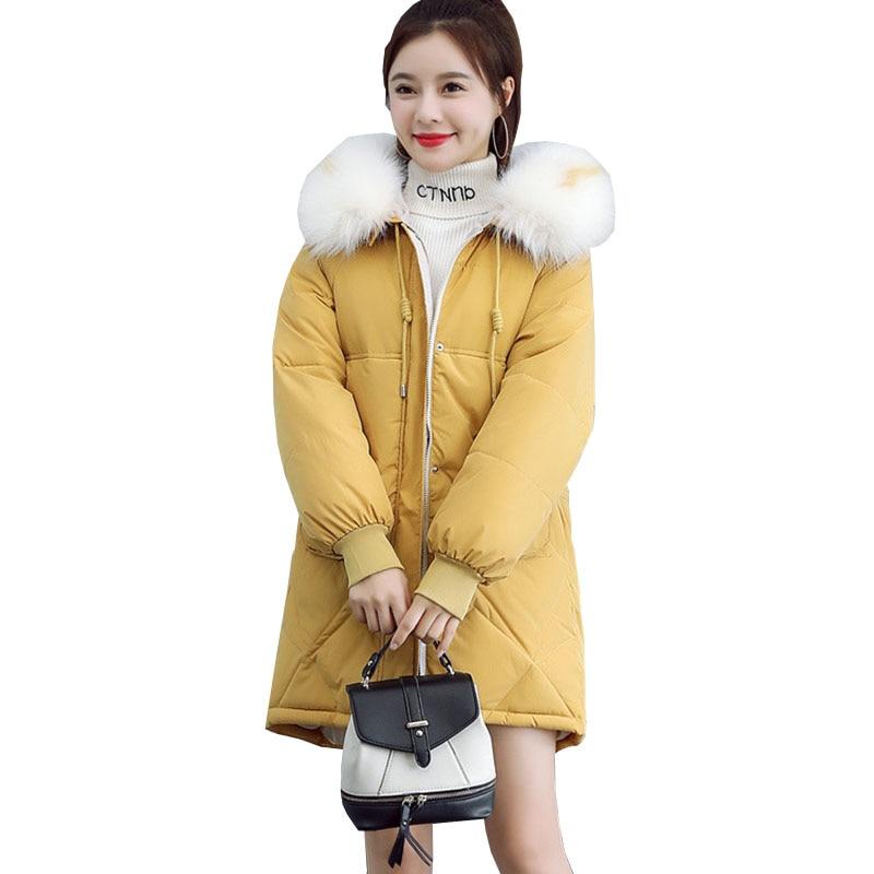 2019 New Autumn winter Medium length Hooded Women parka Solid zipper Long sleeve Thick Outwear Coat Jacket Fashion Cotton 1