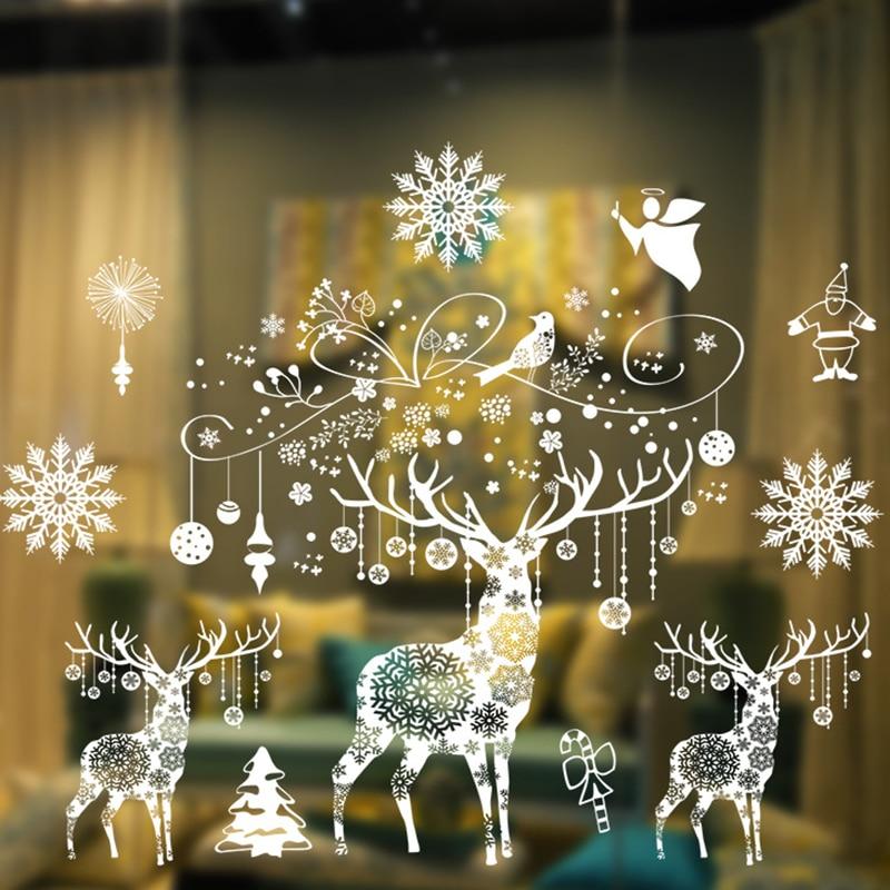 Большой Merry новогодние наклейки на окно рождественские украшения для дома с утолщённой меховой опушкой, хороший год орнамент Рождество веч...