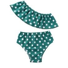 New 2020 Toddler Baby Girls Striped Swimwear Dot Polk Print Bikini Swimsuit Ruffle Swimming Costume girls ruffle detail striped dress