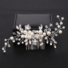 Trendy Silver color Pearl Crystal Wedding Hair Combs Hair Accessories for Bridal Headpiece Women Wedding Hair Jewelry ornaments недорого