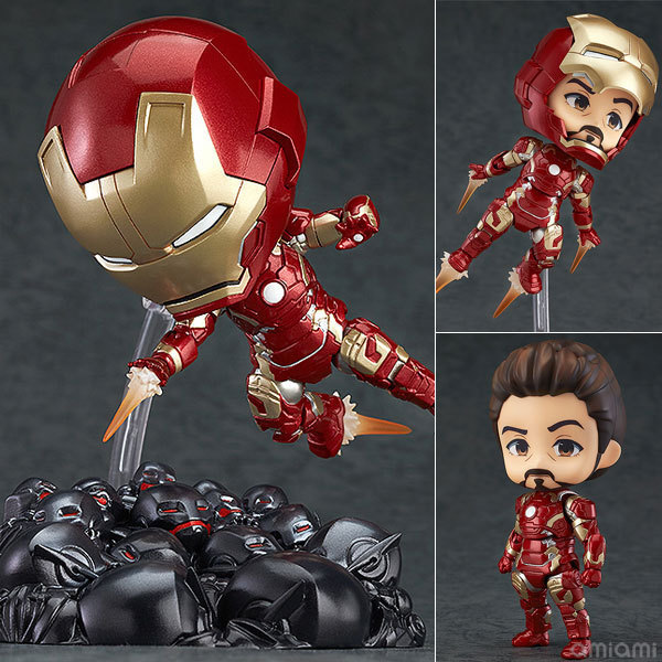 Mark43 Marvel Avengers Cute Iron Man Tony Stark Set PVC Action Figure Collection Model Toys