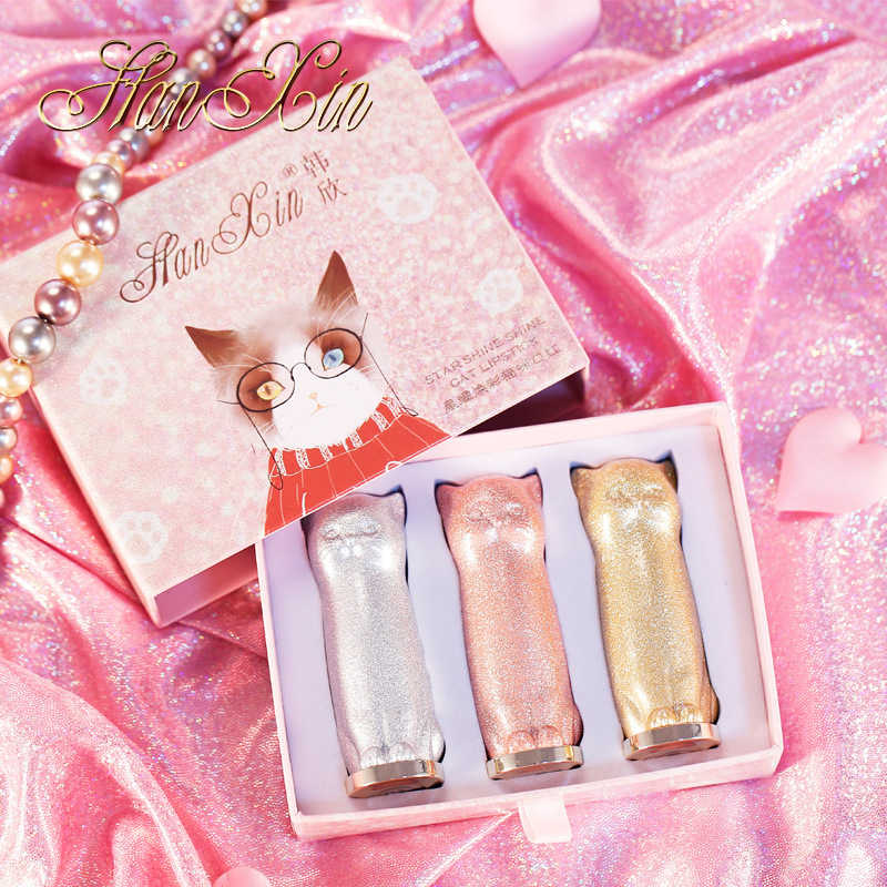 3 Pcs Kucing Lipstik Set Korea Lucu Kitty Tahan Air Pelembab Bibir Stick Makeup Shimmer Glitter Lipgloss Cakar Makeup Batom