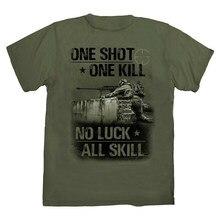 Um tiro uma morte. Camiseta soldado marinho sniper. Verão algodão manga curta o pescoço dos homens t camisa novo S-3XL