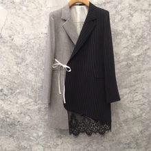 Spring 2020 Korean Suit Female Fashion Temperament Asymmetric Stitching Lace-edged Dress Style Suit