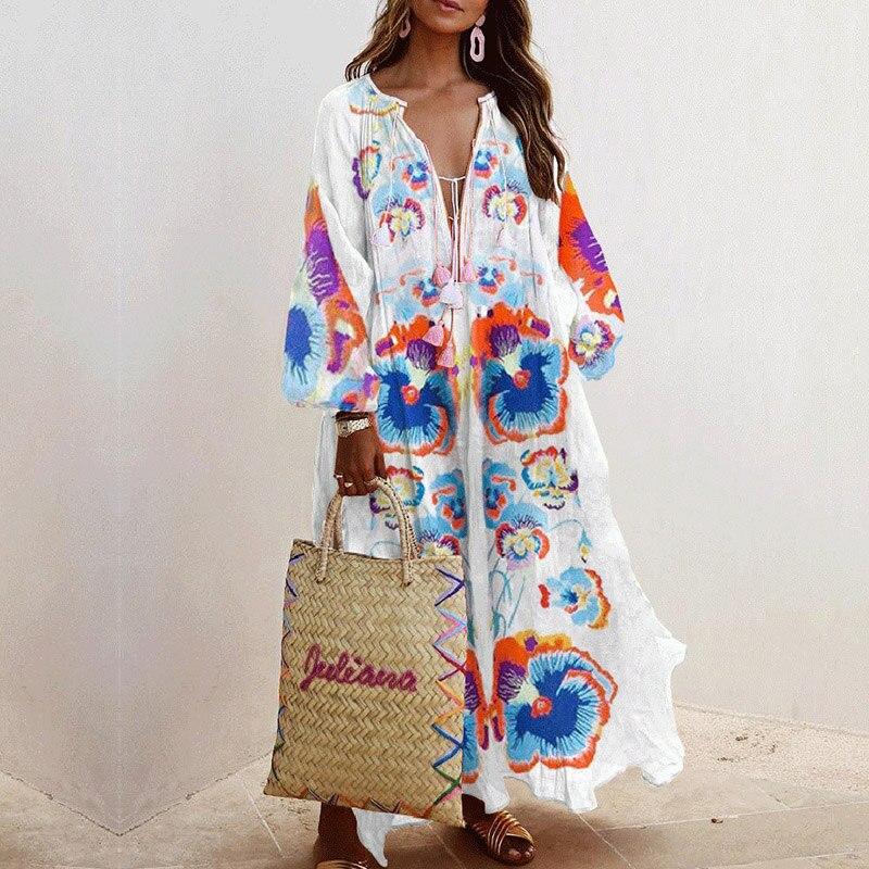Y nidus maxi vestido feminino verão boho vestidos florais 2020 outono longo festa praia listrado vestido com decote em v solto vestidos de verão