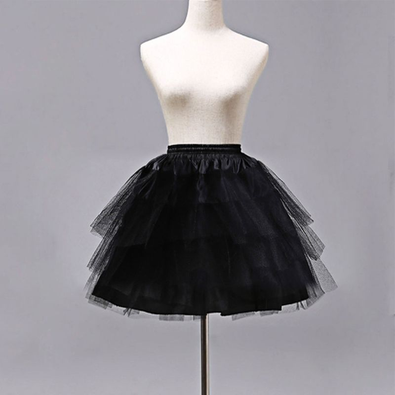Cosplay Maid Wear Lolita Pettiskirt Short No Hoops Petticoat Girls Ballet Mesh Yarn Skirt Petticoats E15E