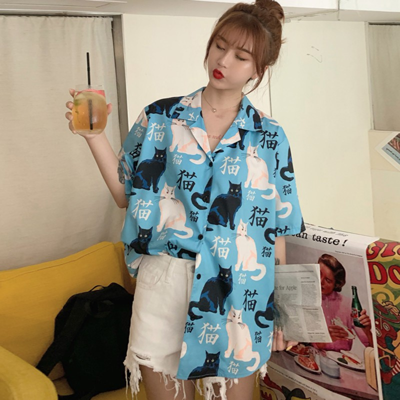 Harajuku Blouse Women Cat Print Short Sleeve Shirt Summer Fresh Trend Wild Shirt Button Loose Casual Daily Shirts