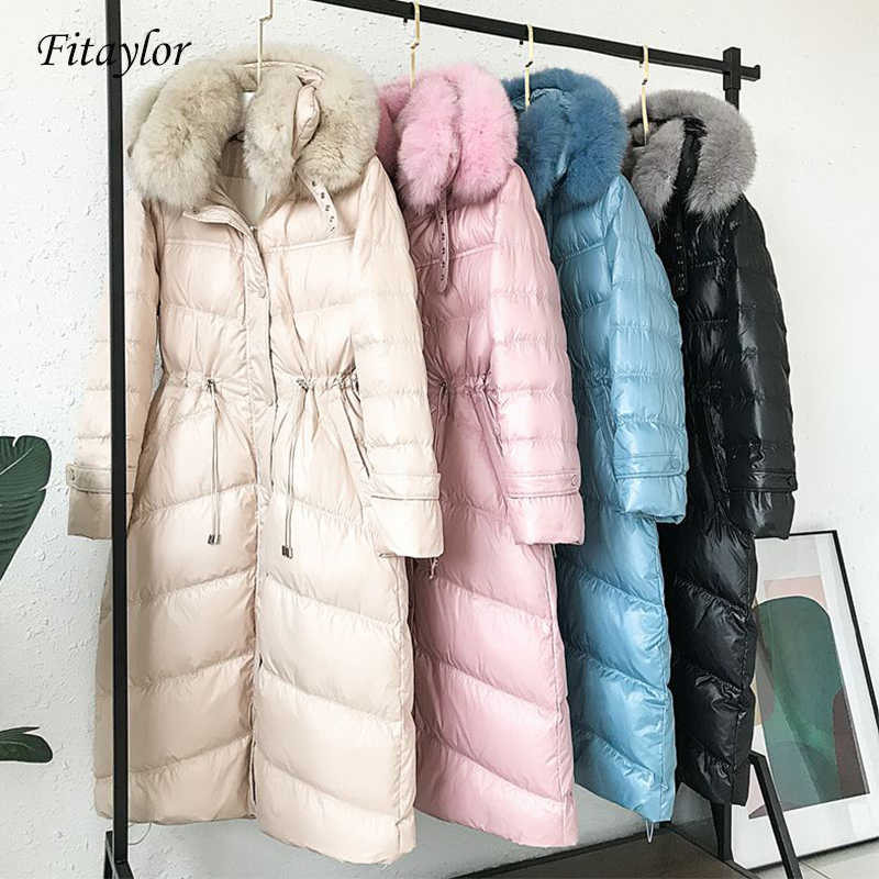 Fitaylor Real Natural Fox Fur 2019 Winter Jacket Women Long White Duck Down Jacket Outwear Hooded Coat Thick Warm Down Parkas