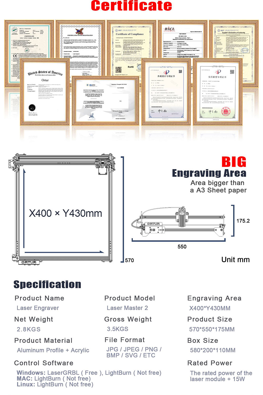 H96553b1fc6fb4f15bfc5c6dfb1f97184Q Gravare / taiere laser Ortur Laser Master 2, 400x430 mm