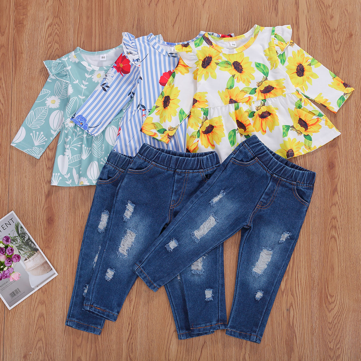 2020 Brand New Autumn Clothes Set For Girls Print Long Sleeve Pullover Top Denim Long Pants Outfit Set Leather Bag
