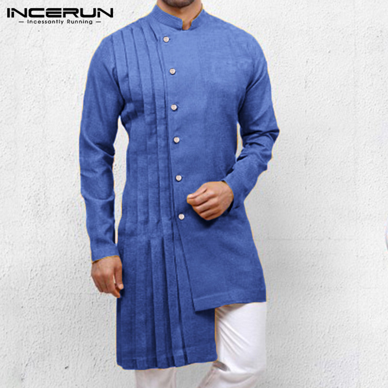 INCERUN Vintage Men Irregular Shirt 2020 Ethnic Style Stand Collar Solid Long Sleeve Kaftan Long Shirt Men Indian Clothing S-5XL