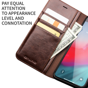Image 4 - QIALINO Luxury Ultrathin Case for iPhone 11 12 Pro Max mini Genuine Leather Fashion Cover for XR X XS Max 7 8 Plus SE2 Card Slot