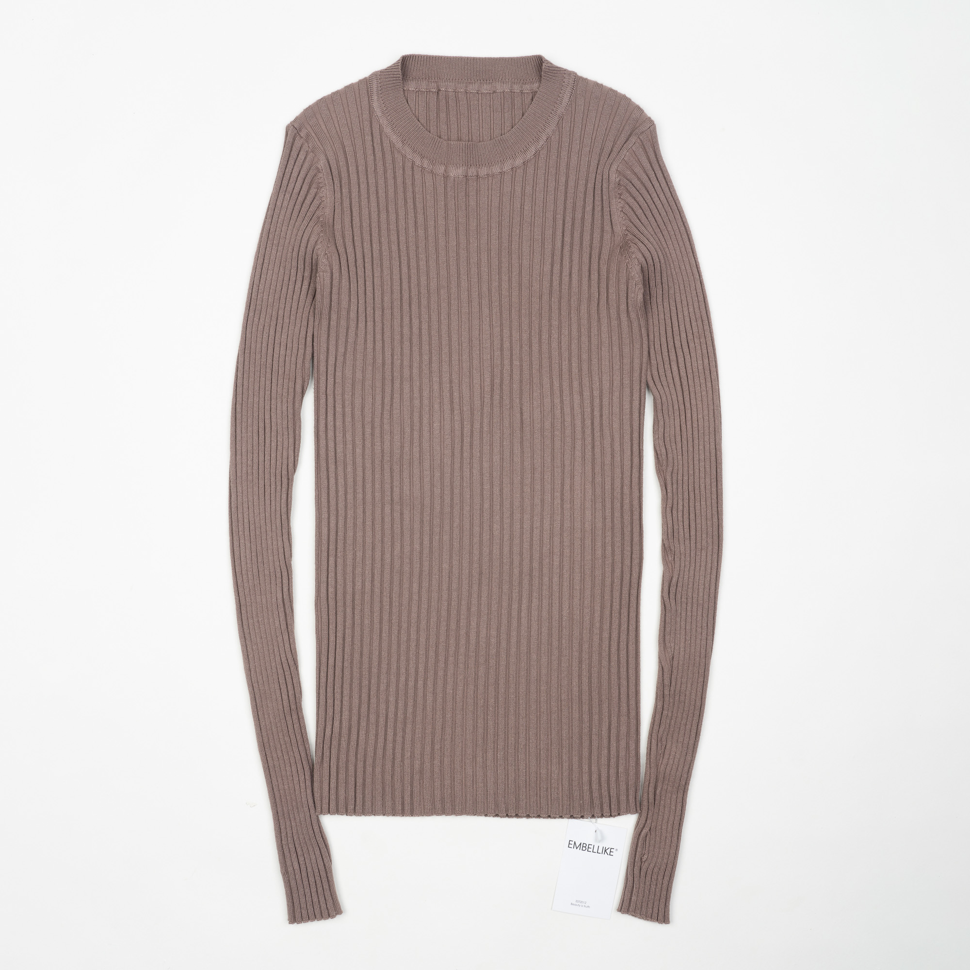 Women Sweater Pullover Basic Ribbed Sweaters Cotton Tops Knitted Solid Crew Neck With Thumb Hole 15