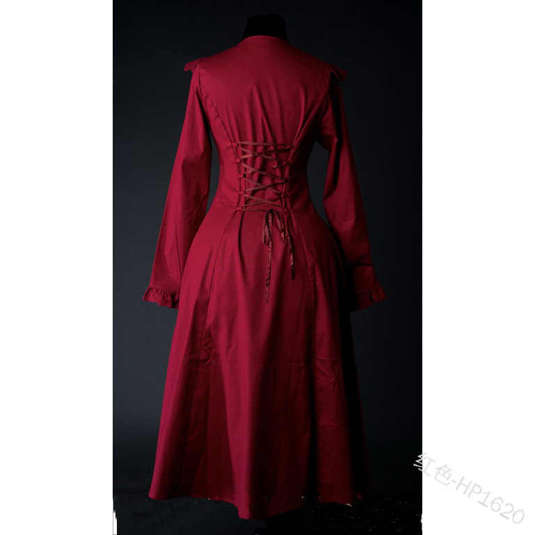 Middeleeuwse Renaissance Victoriaanse Vrouw Gothic Jacket Literaire Retro Dame Windjack Effen Kleur Hof Achter Strappy Trenchcoat