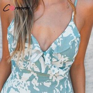 Image 5 - Conmoto lato wzburzyć plaża długie sukienki w stylu casual kobiety sexy spaghetti pasek sukienka damska kwiatowy, bez pleców plus rozmiar sukienka vestidos
