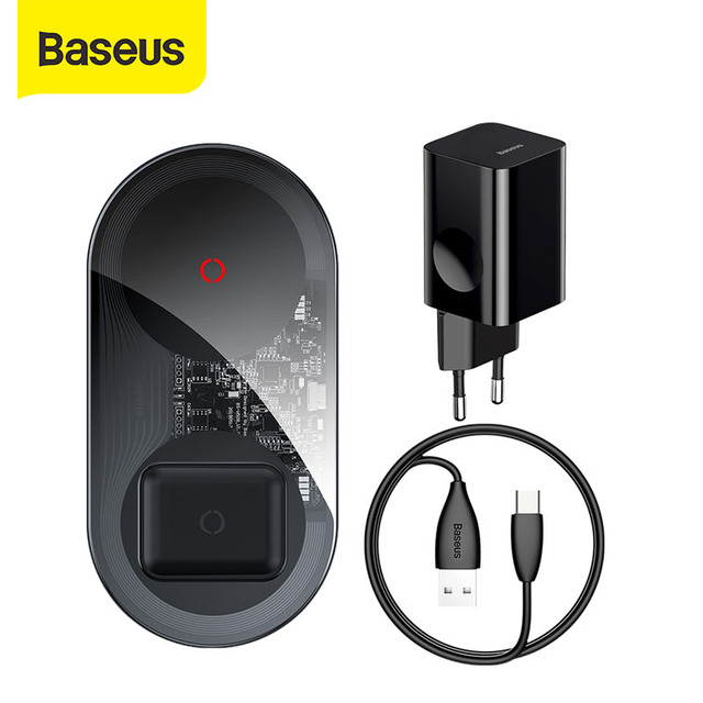 Baseus 24W Qi Wireless Charger For Airpods for iPhone 11 With USB Cable 12V CN/EU/UK Charger Fast Charging Phone Charger Pad